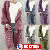 Women Long Sleeve Chunky Knitted Cardigan Autumn Winter Warm Jumper Sweater Coat