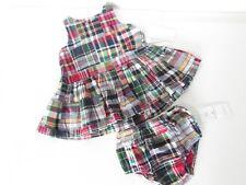 Ralph Lauren Baby Girl's Plaid Cotton Sleeveless 2 PCS Suit Size 6 Months NEW