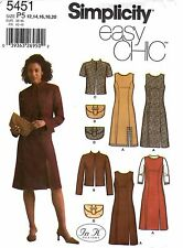 Simplicity Sewing Pattern Women's  DRESS JUMPER JACKET PURSE 5451 Sz 12-20 UNCUT