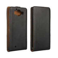 For Nokia Lumia 950 Black Genuine Real Leather Classic Flip Case Cover
