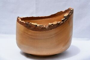 """Rustic Wood Bowl 7""""Natural Raw Bark Edge Handcrafted Artisan Décor"""