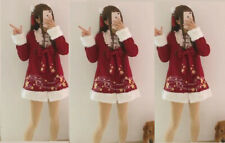 Christmas Red Lolita Dress Winter Kawaii harajuku santa coat dress SMALL size