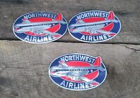 3 Vtg 50s Northwest Airlines Luggage Label Sticker Silver Blue Red Airplane Logo