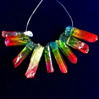 9Pcs/Set Rainbow Titanium Crystal Agate Druzy Quartz Geode Pendant Bead S68964