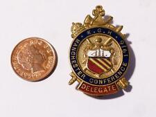 Antique Enamel Badge KGH Manchester Conference 1916 Golden Horn Knight #X2
