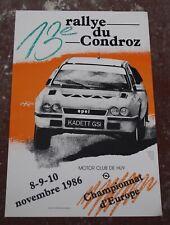 Poster 13ème Rallye du condroz-HUY . 1986 . Motor club de Huy .