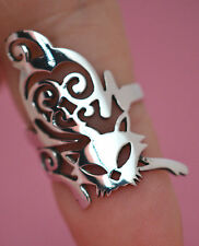 "PRETTY KITTY CAT 1 1/4"" LONG Ring All Genuine Sterling Silver.925 Stamped Size 7"