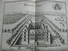 Merian Topographia Gallia gravure 17e s. Chateau Ancy Le Franc Bourgogne Yonne
