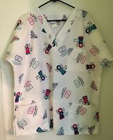 PL of California Scrub Top Size XL Tooth Fairy Dental Hygienist Braces Dentist