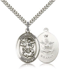 "SAINT MICHAEL -  ARMY - Catholic Pewter  Medal / Pendant /  w/24"" Heavy Chain"