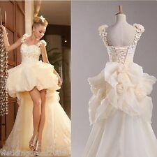 Summer Beach Short Long Wedding Dress Bridal Gown Stock Size 6 8 10 12 14 16 18