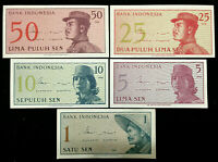 Indonesia 50,25,10,5,1 Sen Banknote World Paper Money UNC Currency Bill Notes