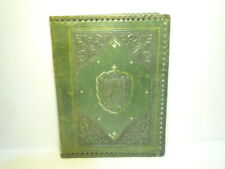 MARVELOUS  ANTIQUE  LEATHER  FOLDER  WITH  COAT  OF  ARMS  STANDING  LION