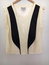 SEA NY New Womens Tuxedo Cream Black Blouse Top Shirt 100% Silk Size 4