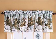 Winter Snow Bear Moose Raccoon Cabin Lodge Kitchen Window Bath Valance NIP