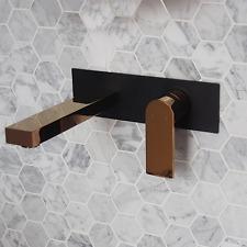 New Black / Gold Square WALL MIXER TAP Shower Bathroom vanity tapware