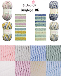 Stylecraft BAMBINO and BAMBINO PRINTS DK Double Knitting Soft Acrylic Pastel Col