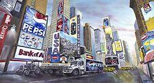 "SUPERBA David GARVEY ORIGINALE ""USA Gateway"" Times Square New York pittura ad olio"