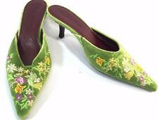 DIEGO DI LUCCA Women Green Floral Embroidered Kitten Heel Slide Mules Shoe 7M