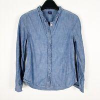 Gap Kids Girls Denim Blue Chambray Long Sleeve Shirt Size Large