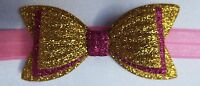 GOLD AND PINK GLITTER 3 INCH HAIR BOW ELASTIC HEADBAND BABY GIRLS NEW