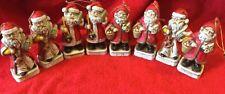 8 Ceramic Santa Claus Figures 5 inches tall