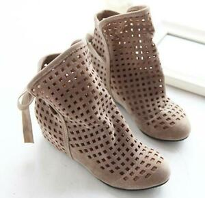 Women's Round Toe Breathable Ankle Boots Flat Suede Hollow Out Shoes Back LaceUp