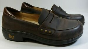Alegria Tay602  Womens Size 39 Brown Clog Penny Loafers Work Casual Nurse us 9
