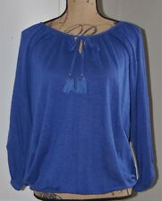 NWT Joan Vass 100% Linen 3/4 Sleeves Peasant Blouse, Blue, Size Small