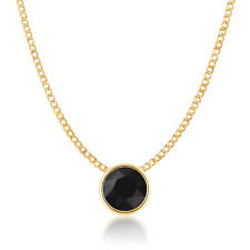 Small Pendant Necklace with Black Jet Round Crystals from Swarovski Gold Plated