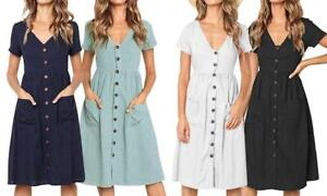 UK Boho Women's Summer Midi Dress Holiday Button Front Sleeve Dress *NEW*