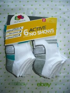 Fruit of The Loom Boys No Show Socks 6 Pair Size LARGE 3-9 NEW White Red Blue