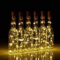 2M LED Bottle Stopper Fairy String Lights Wine Battery Cork Shaped Party Wedding