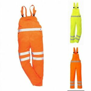 Portwest Contrast HI VIS Bib & Brace Trousers Dungarees Workwear Moto