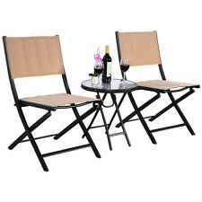 3PCS Outdoor Patio Folding Table Chairs Furniture Set Bistro Garden Steel