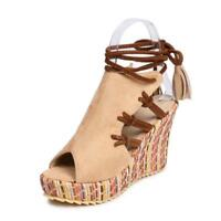 Classic Lace Up Wedge High Heel Sandals Slingbacks Leisure Shoes Beach Womens SZ