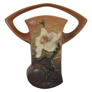 Vintage Roseville Pottery Magnolia 1943 Brown Wall Pocket 1294-8