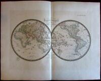 World in Hemispheres w/Lake Timpanogos Mts. of Moon Africa 1836 Brue large map