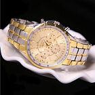 Fashion Men's Luxury Date Gold Dial Stainless Steel Analog Quartz Wrist Watch