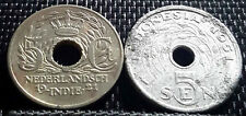 1921 & 1951 Nederland Indie /Indonesia 5 Cents coin 2pcs (+FREE 1 coin) #D2906