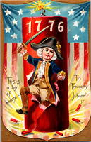 1908 Independence Day 4th of July Tuck Postcard 1776 Boy Continental Soldier