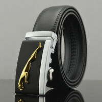 Luxury Men's Jaguar Automatic Buckle Belt Black Leather Ratchet Strap Jeans Gift