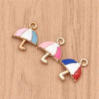 10 Pcs Lovely Umbrella Alloy Charms Alloy Pendants DIY Jewelry Necklace Marking