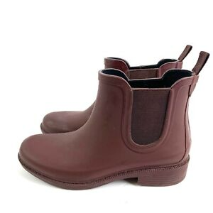 Madewell Rain Ankle Boot 6 The Chelsea Womens Rubber Slip On Bootie Burgundy Red