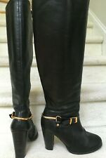 Black Genuine Leather Tall Knee High Heel Buckle Boots size 40, 9.5 US