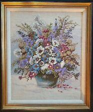 Floral Needlepoint Finished Framed Boquet Multi Color Vtg ABSOLUTELY ELEGANT!!!