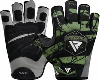 RDX Leather Weight Lifting Gloves Gym Workout Power Training Wrist Support Green