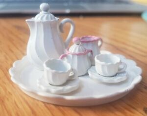 Vintage Miniature Doll House White painted Pewter Tea Set,9pc. Estate Item