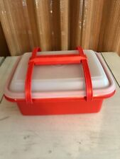 Vintage TUPPERWARE Lunch Box Container Pack N Carry Orange Red