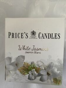 PRICE'S CANDLES~WHITE JASMIN-JAR CANDLE~new / boxed
